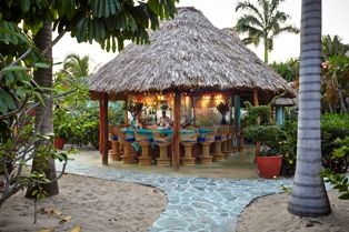 Bar Full at Dusk Chabil Mar Resort Belize