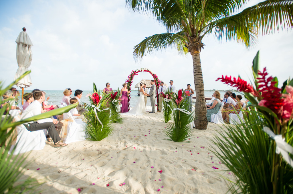 Ceremony Wedding on Beach 1 Chabil Mar Resort Belize