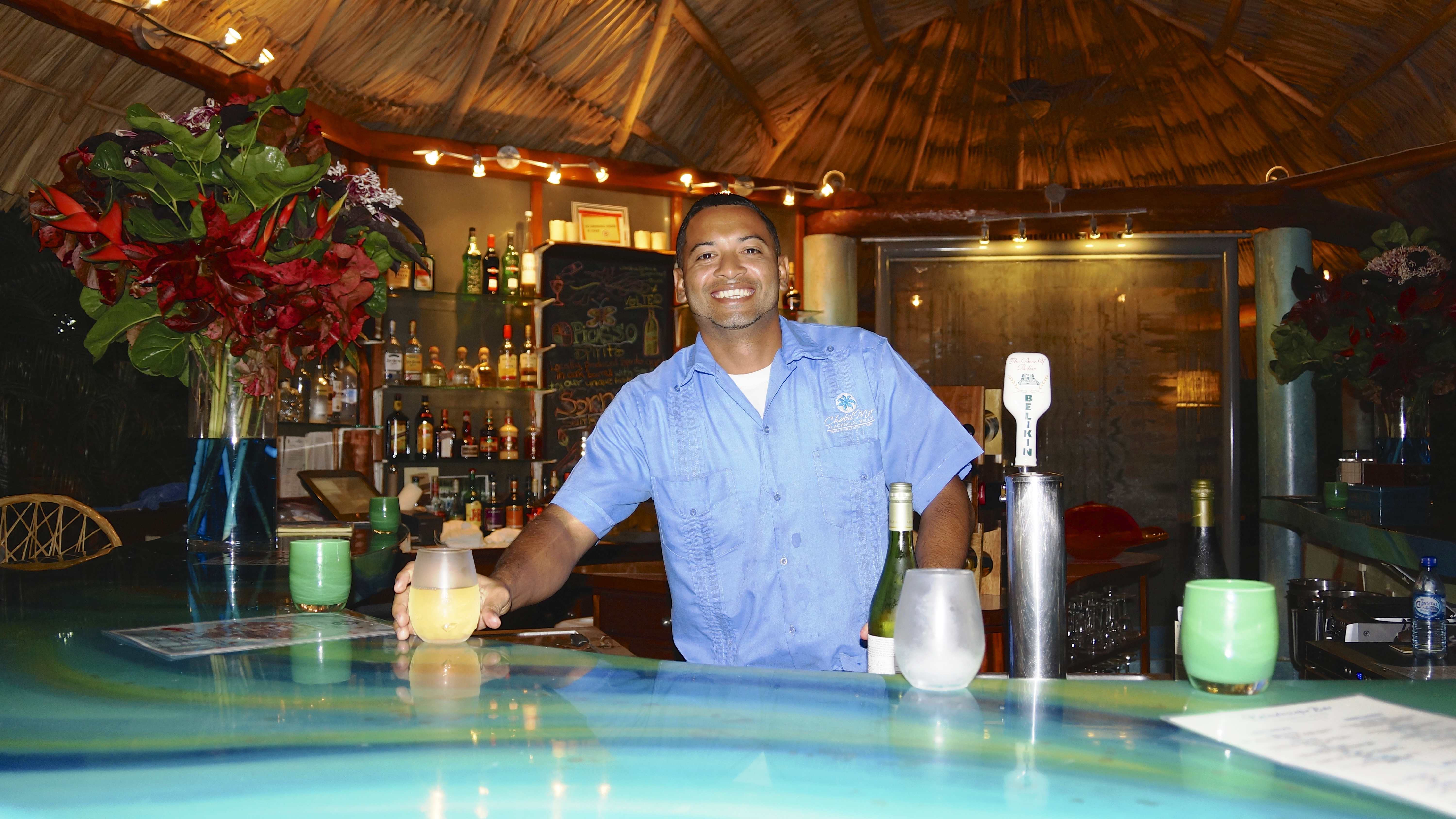 Darren serving at Bar 2 Chabil Mar Resort Belize