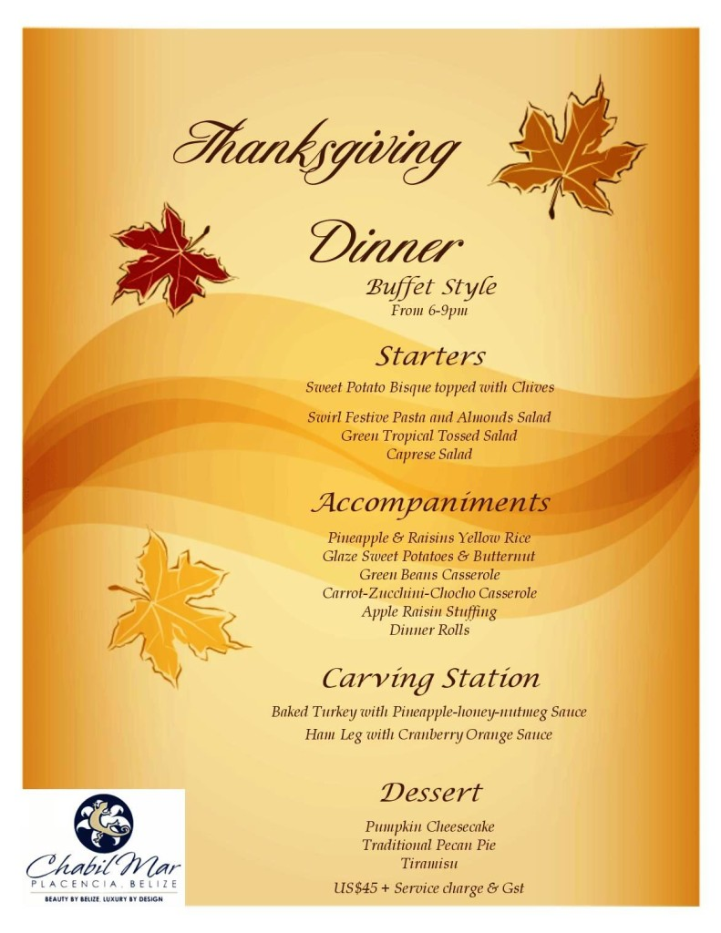 Thanksgiving Menu 2015