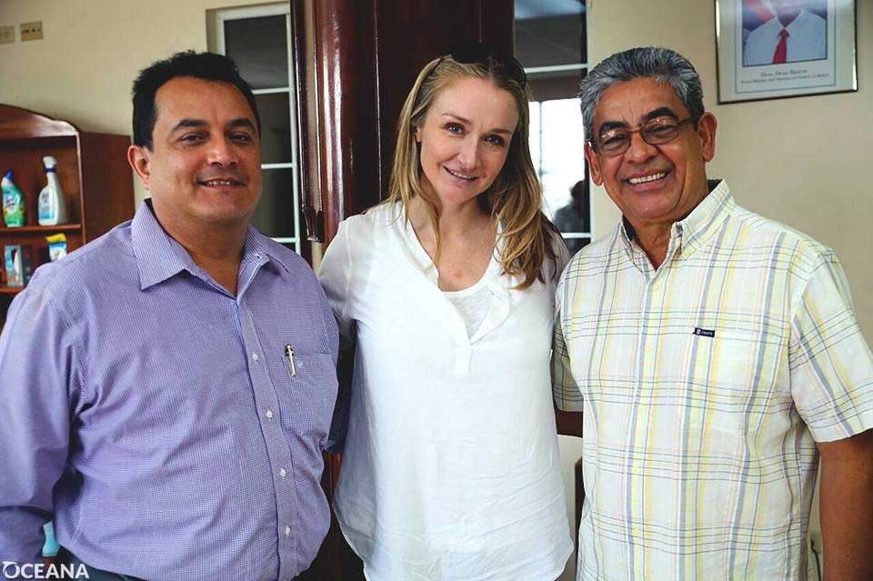Alexandra Cousteau with Deputy Prime Minister of Belize, Gaspar Vega