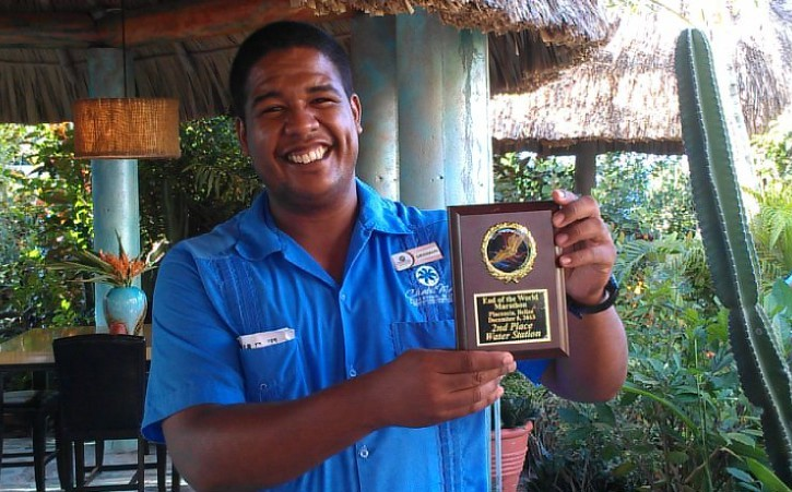 Award for second place water station Chabil Mar Resort Belize