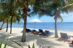 Lounge on our beach. Our beach captain provides towels and drinks and serves lunch