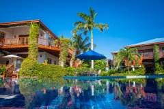 View from the Palm Tree Pool toward the Villas
